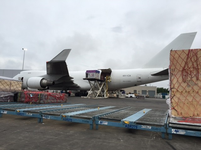 horse box stall being loaded onto airplane